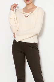 Three Dots Tie Up Crop Sweater - Product Mini Image