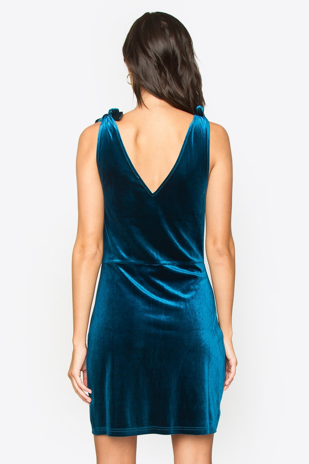Sugarlips Tie Velvet Dress - Side Cropped Image