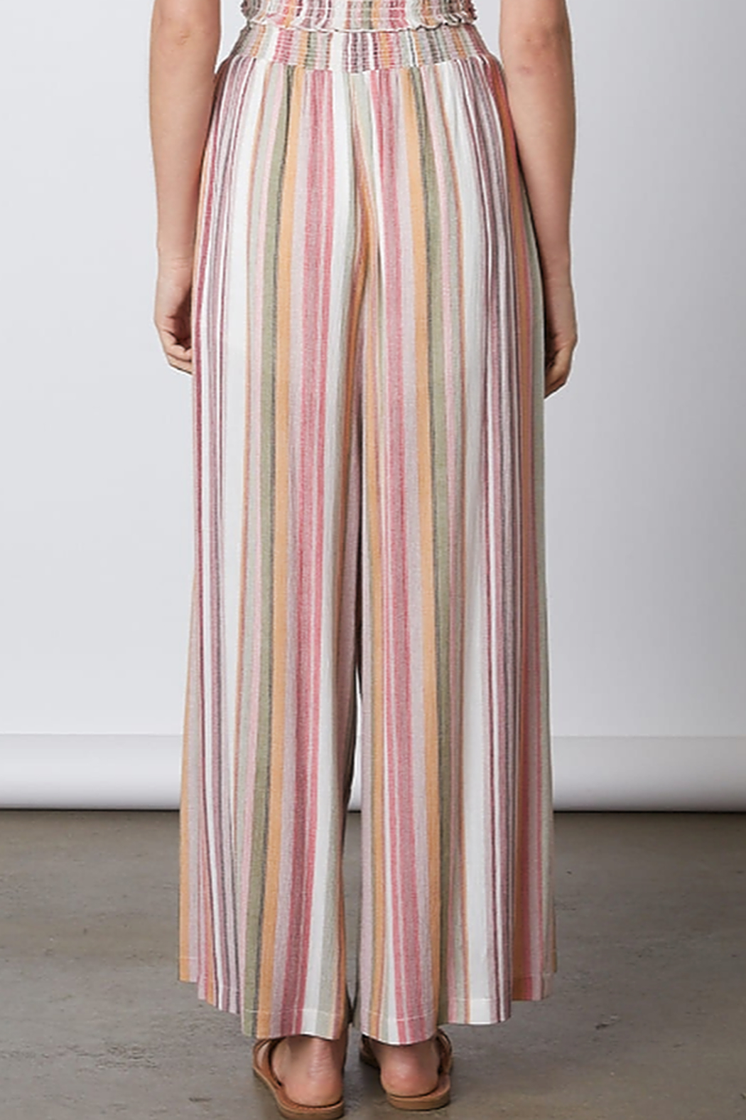 Cotton Candy  Tie Waist Flare Pant - Front Full Image