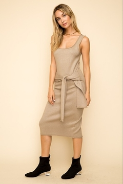 Hem & Thread Tie Waist Knit Midi Dress - Product List Image