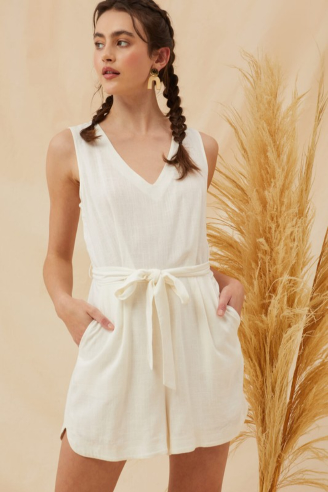 Lush  Tie Waist Linen Romper - Front Cropped Image