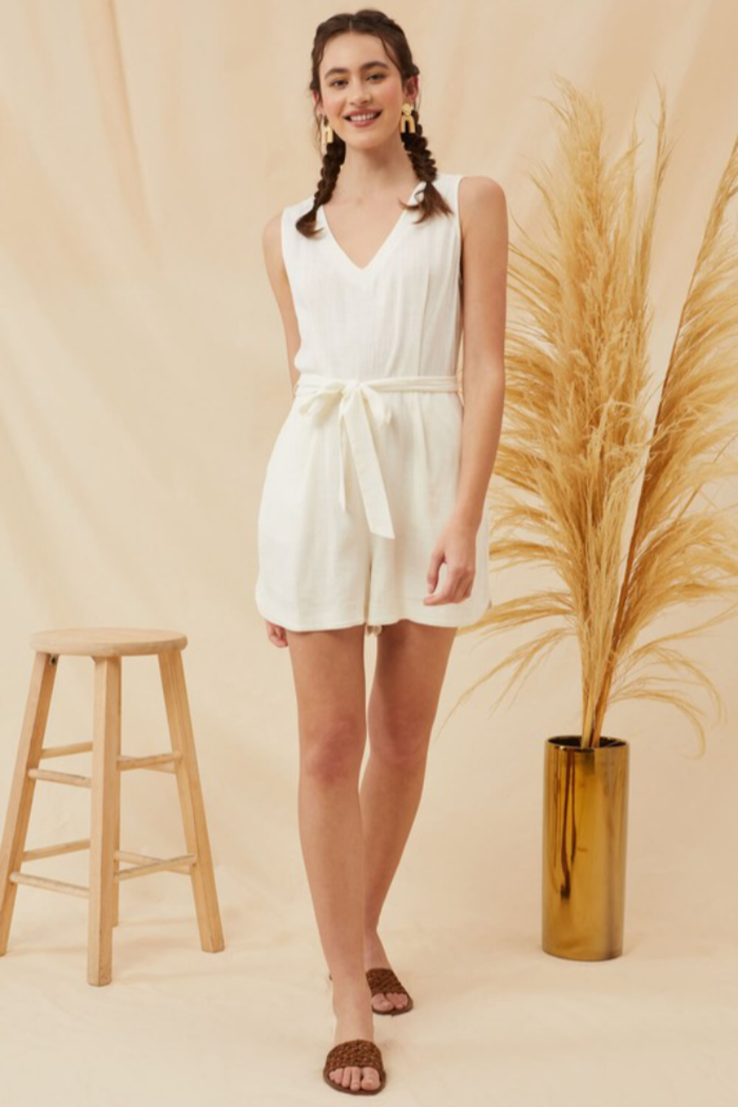 Lush  Tie Waist Linen Romper - Back Cropped Image