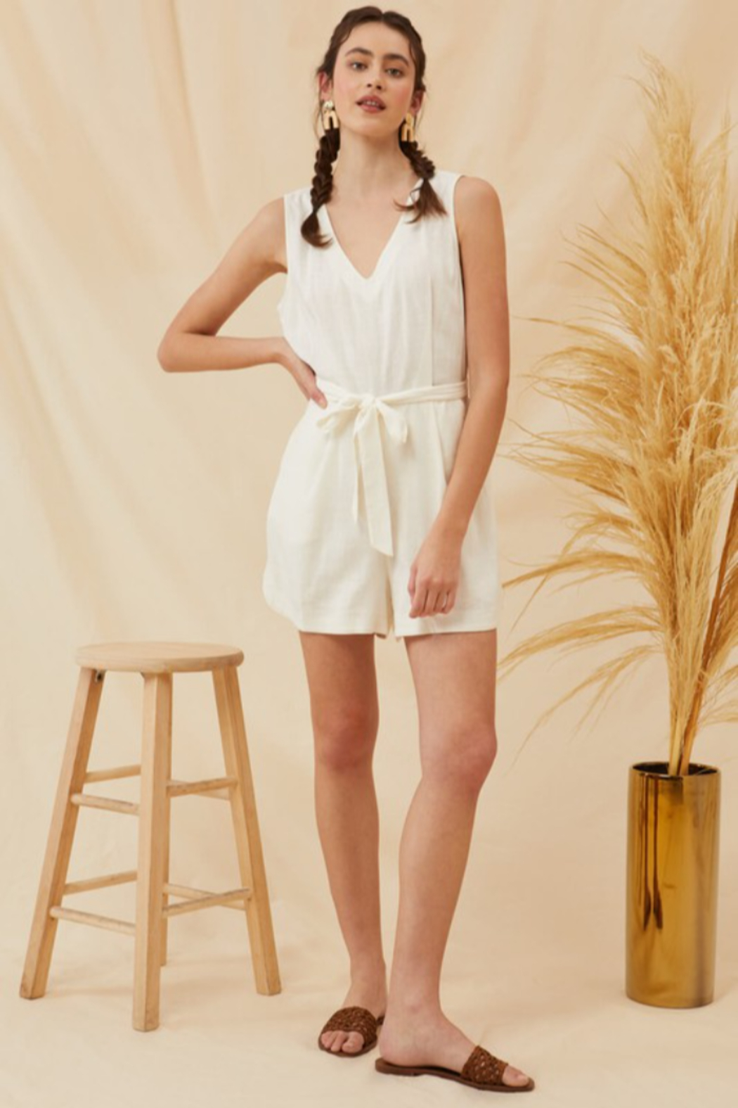 Lush  Tie Waist Linen Romper - Side Cropped Image