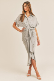 Mable Tie Waist Midi Dress - Front cropped