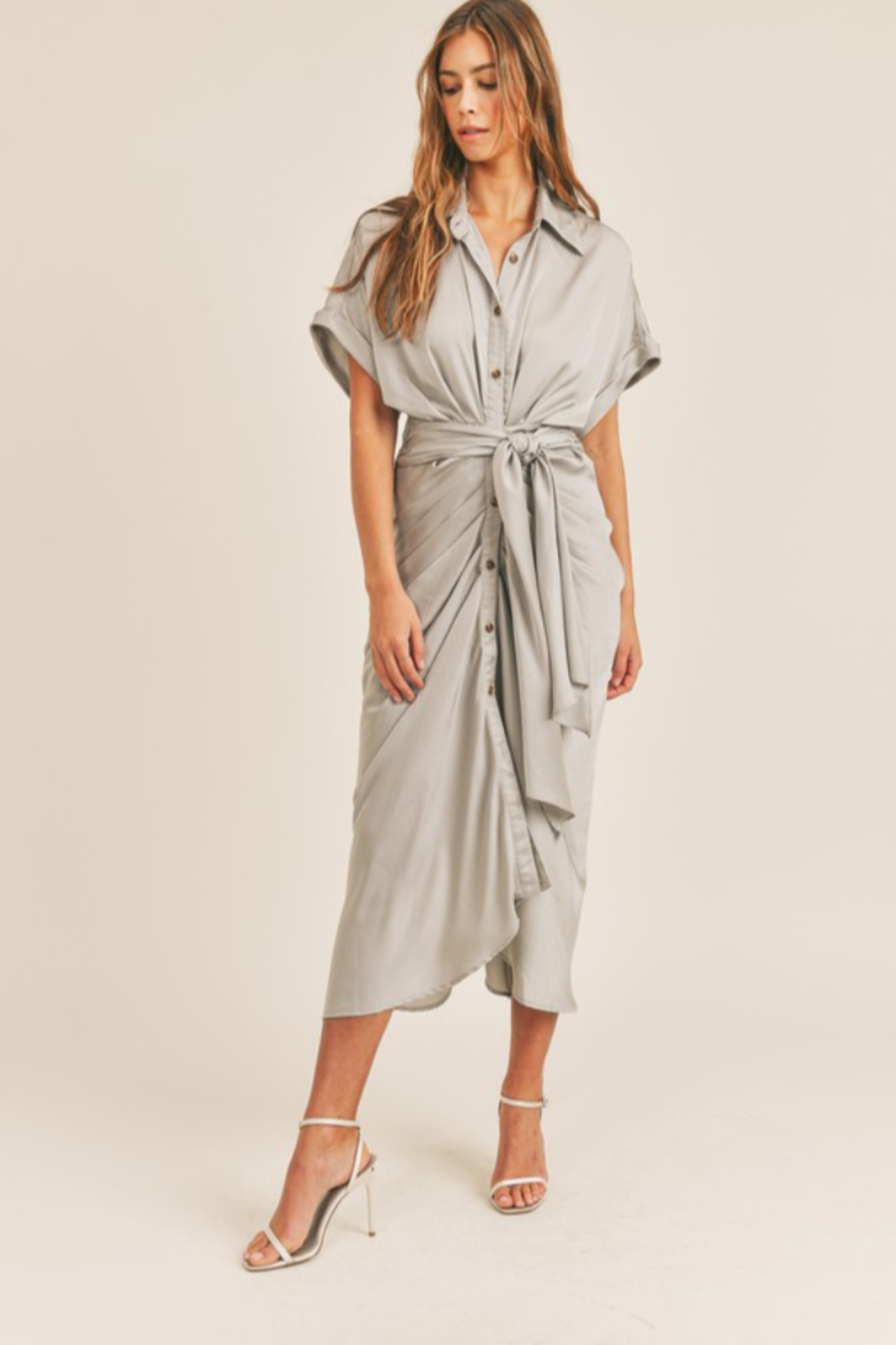 Mable Tie Waist Midi Dress - Front Full Image
