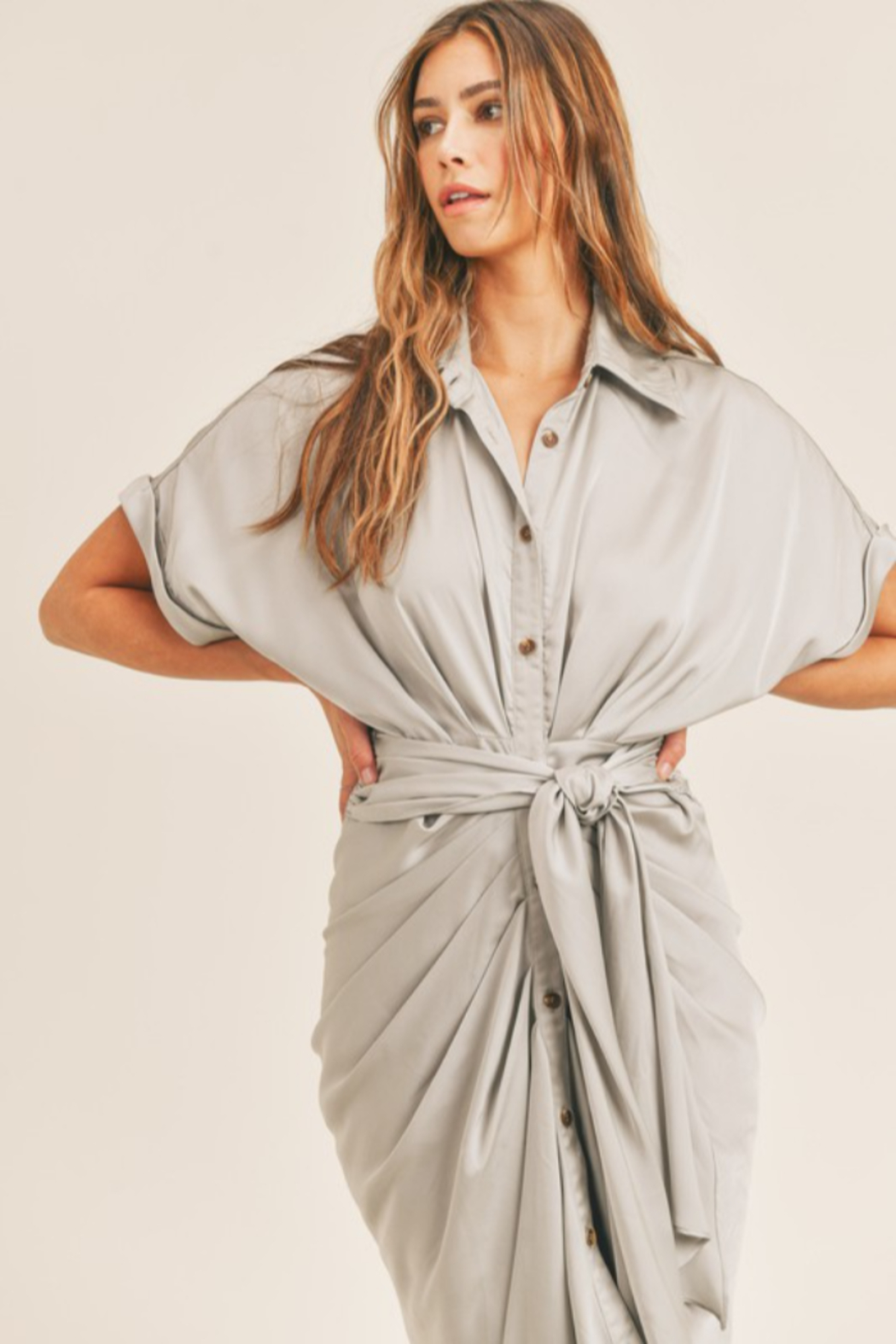 Mable Tie Waist Midi Dress - Back Cropped Image