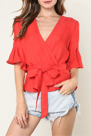 Mustard Seed Tie waist ruffle sleeve top - Product Mini Image