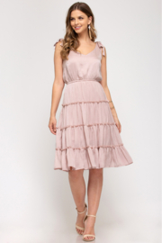 She and Sky TIED SHOULDER WOVEN TIERED DRESS - Product Mini Image