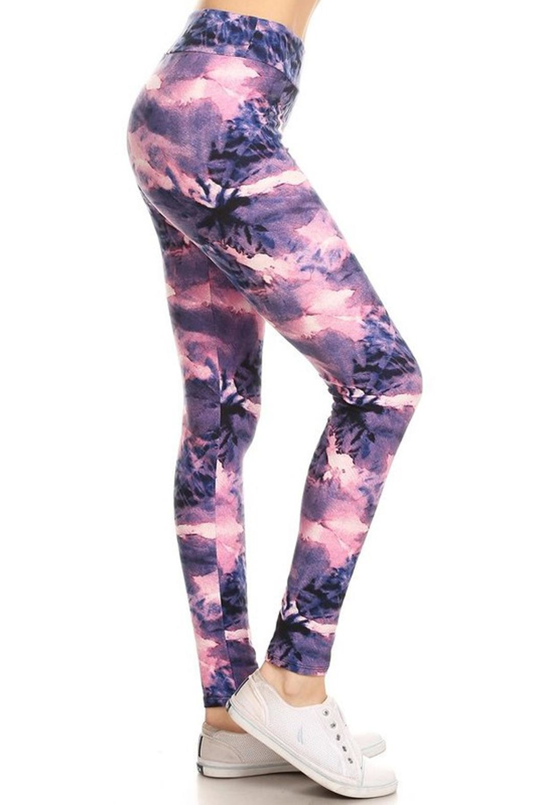 New Mix Tiedye Banded Legging - Side Cropped Image