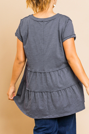 Umgee  Tiered Babydoll Tunic Curvy - Front full body