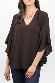 Lola & Sophie Tiered Bell Slv Vneck Blouse - Product Mini Image