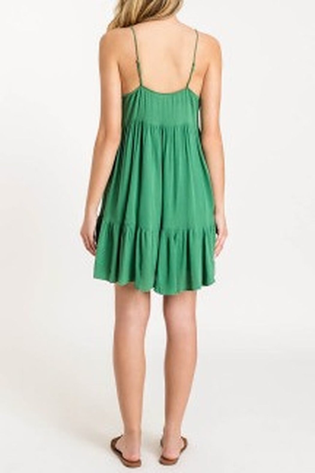 Lush  Tiered Button Dress - Front Full Image