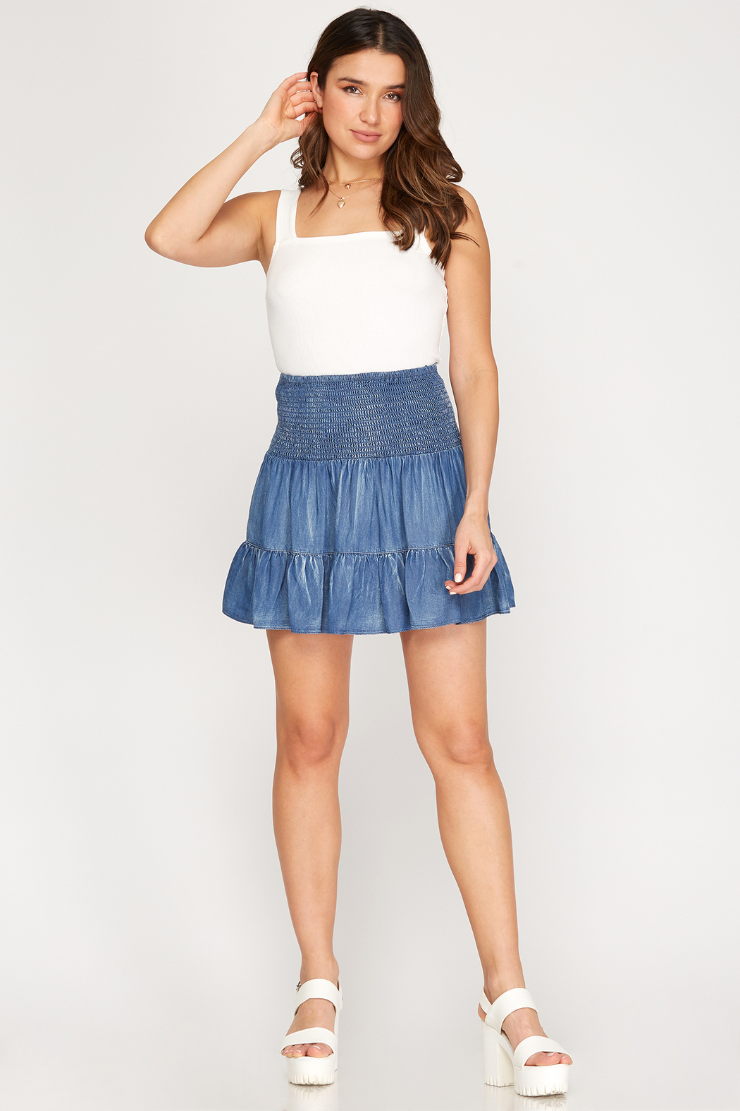 She & Sky  Tiered Chambray Smocked Skirt - Back Cropped Image