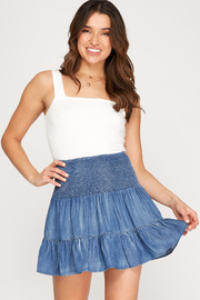 She & Sky  Tiered Chambray Smocked Skirt - Front cropped
