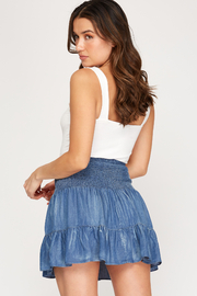 She & Sky  Tiered Chambray Smocked Skirt - Front full body