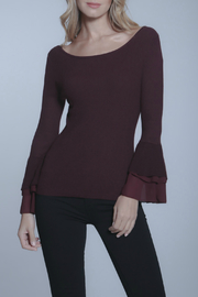 METRIC Tiered Chiffon 3/4 Bell Slv Knit Top - Product Mini Image