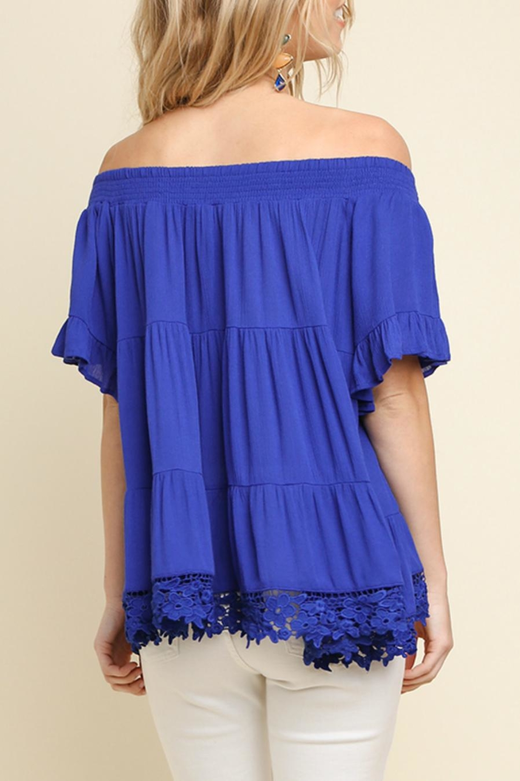 Umgee USA Tiered Cobalt Off-The-Shoulder - Side Cropped Image
