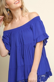 Umgee USA Tiered Cobalt Off-The-Shoulder - Front cropped