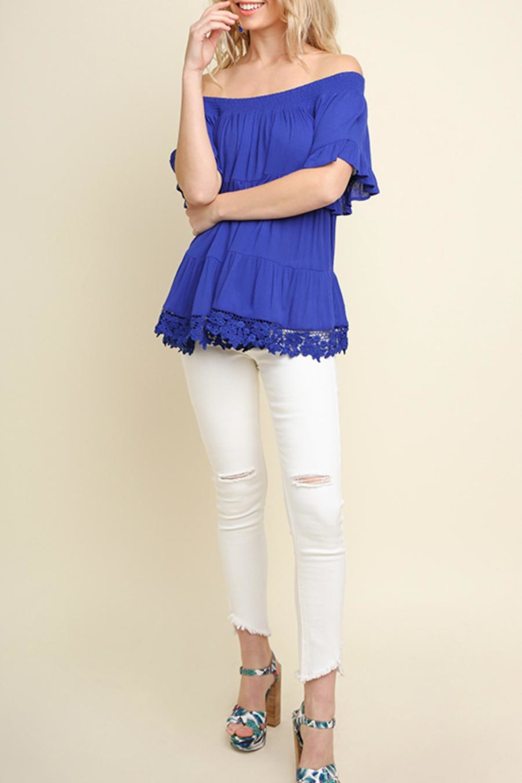 Umgee USA Tiered Cobalt Off-The-Shoulder - Back Cropped Image