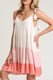 Hem & Thread Tiered Coral Dress - Front cropped