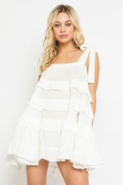 Olivaceous  Tiered Cotton Mini - Front cropped