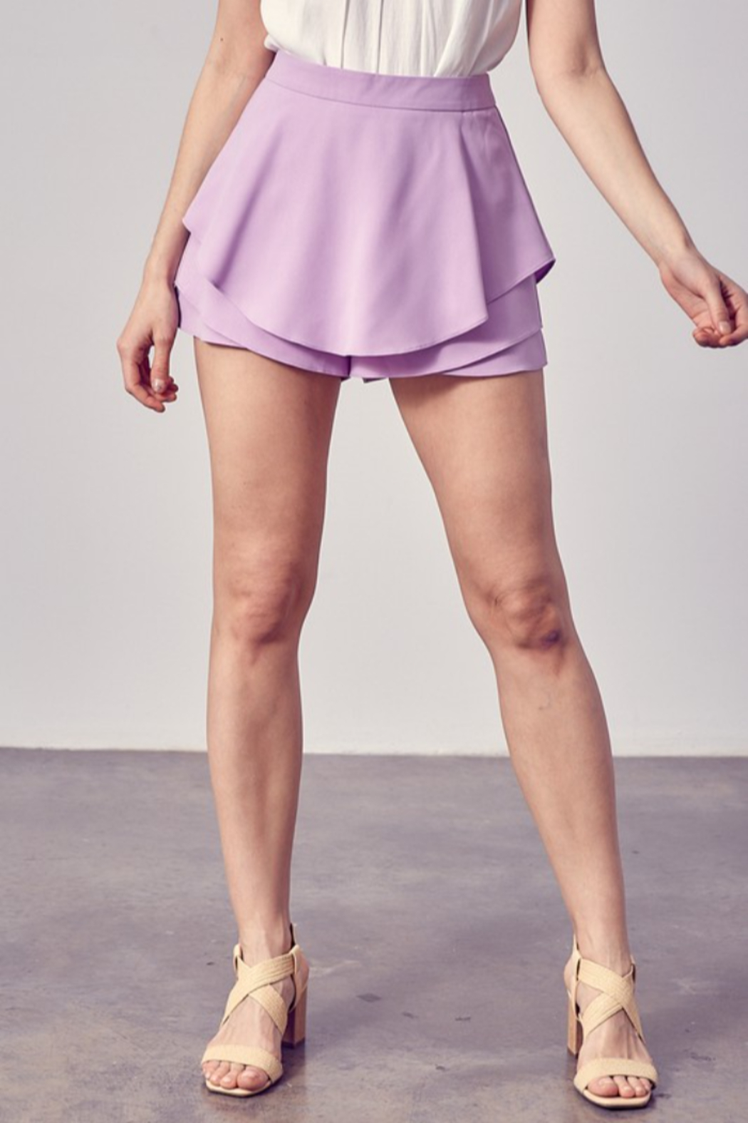 Do + Be  Tiered Detail Skort - Front Cropped Image