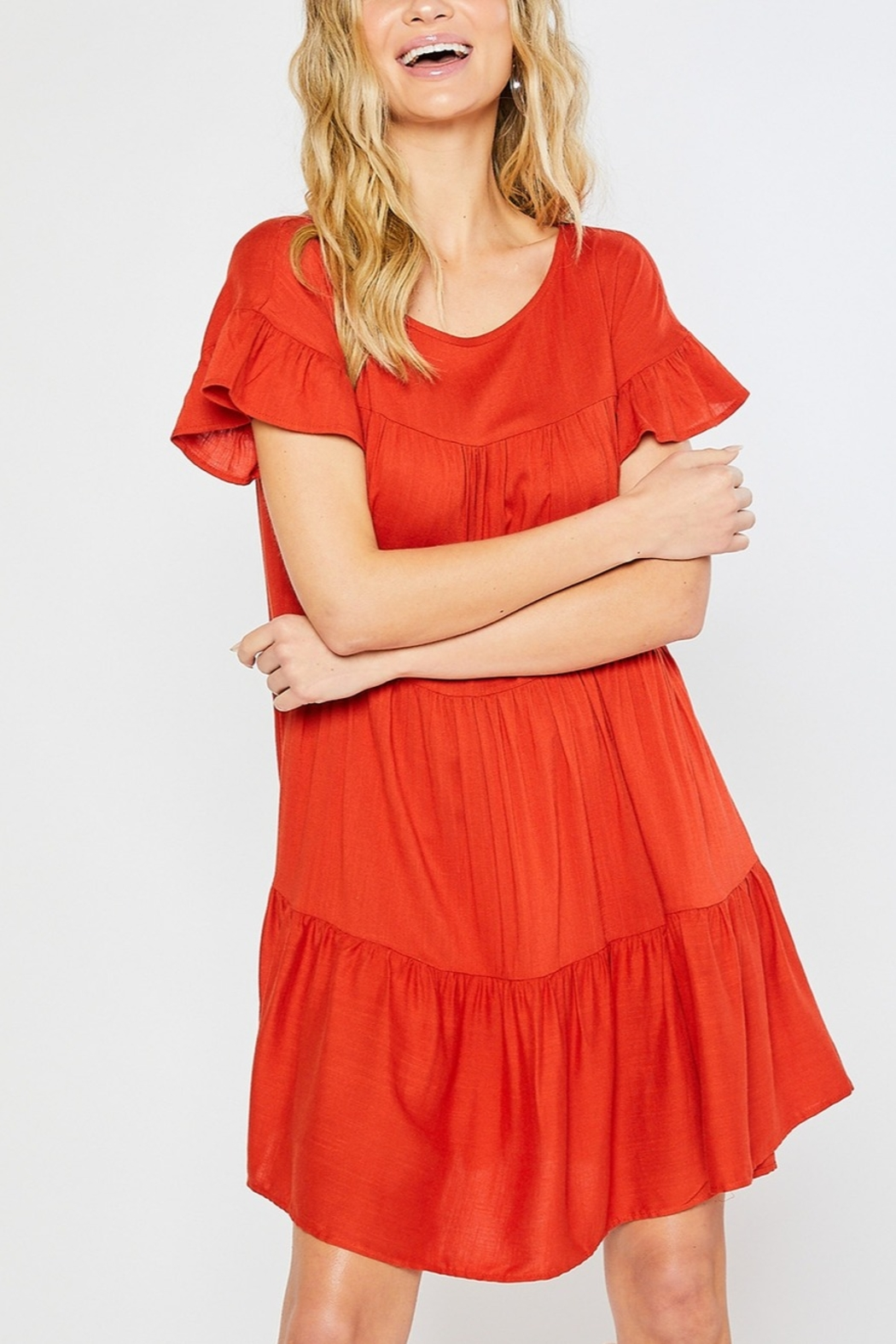 Lyn -Maree's Tiered Easy Going Dress - Front Full Image