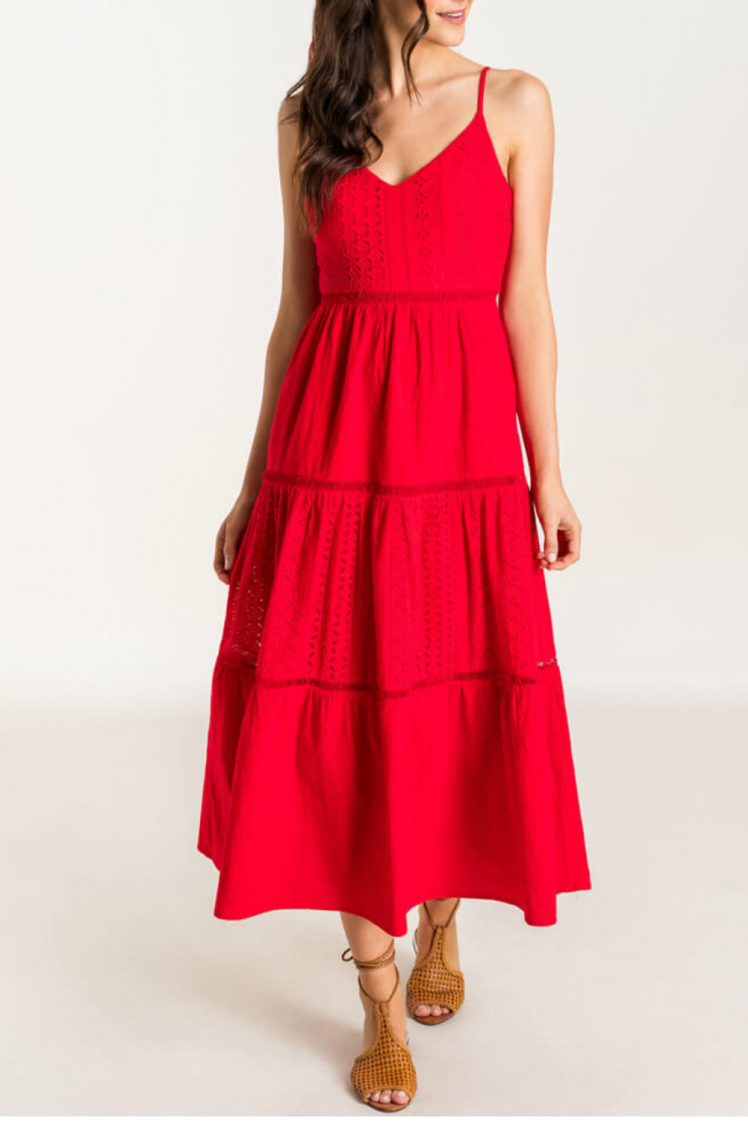 Lush  Tiered Eyelet Midi Dress - Front Cropped Image