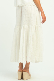 Dex TIERED FLORAL EYELET SKIRT - Side cropped