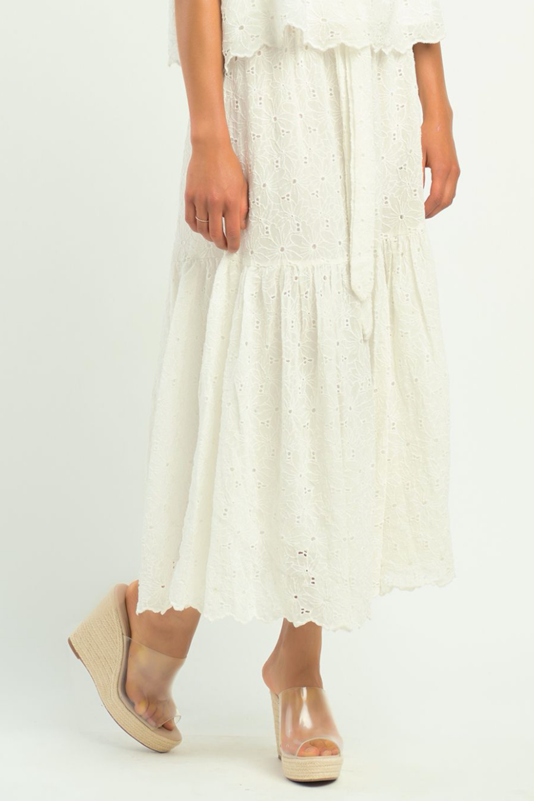 Dex TIERED FLORAL EYELET SKIRT - Front Full Image