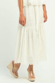 Dex TIERED FLORAL EYELET SKIRT - Front full body