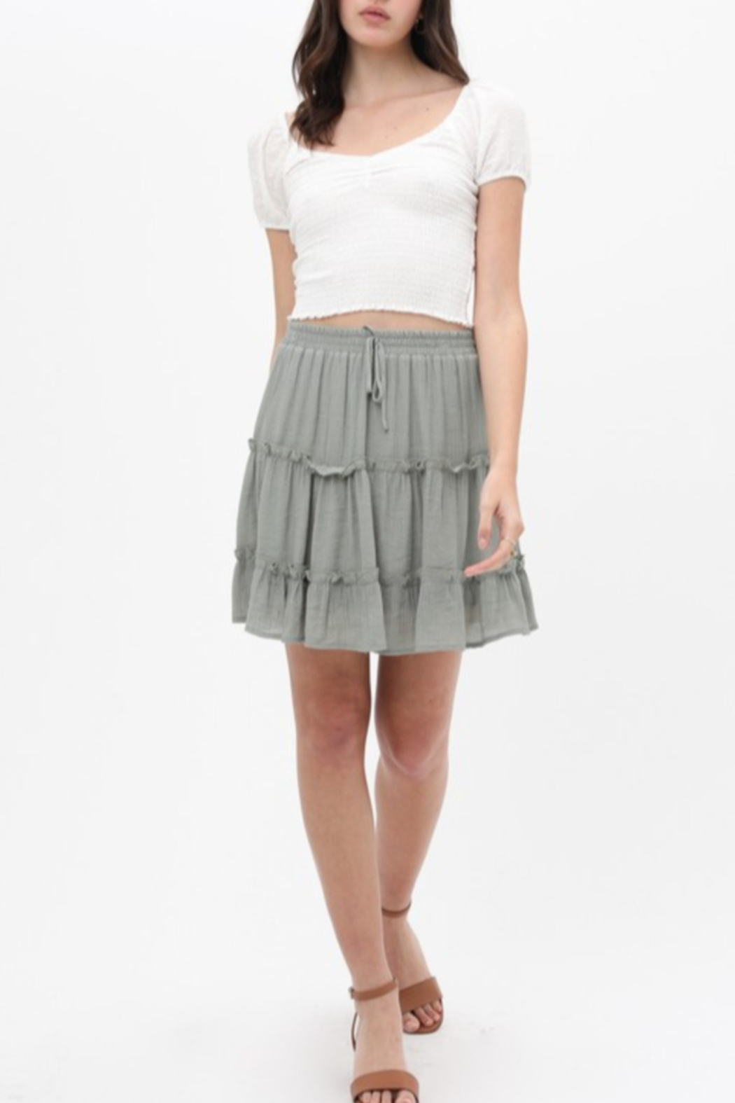 Love Tree  Tiered Gauze Mini Skirt - Front Cropped Image