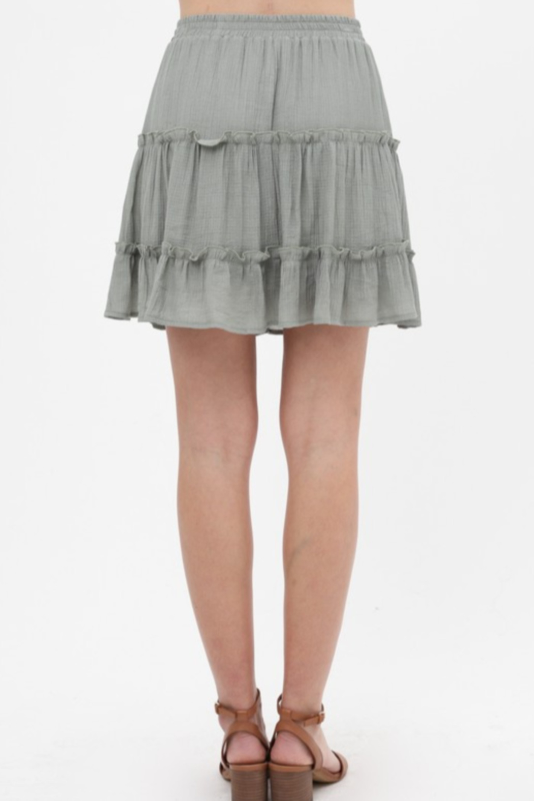Love Tree  Tiered Gauze Mini Skirt - Front Full Image