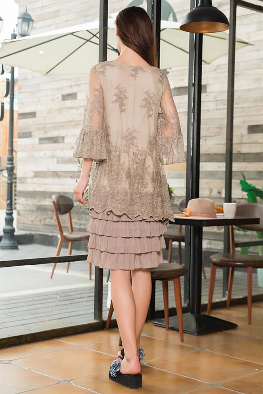 sassy Bling Tiered Lace Dress - Front Full Image