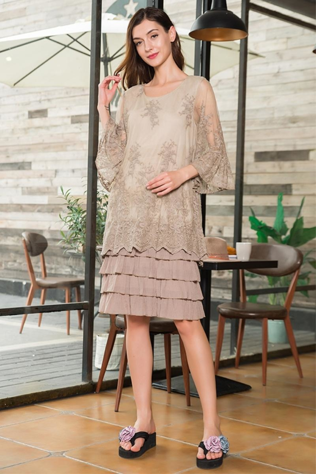 sassy Bling Tiered Lace Dress - Front Cropped Image