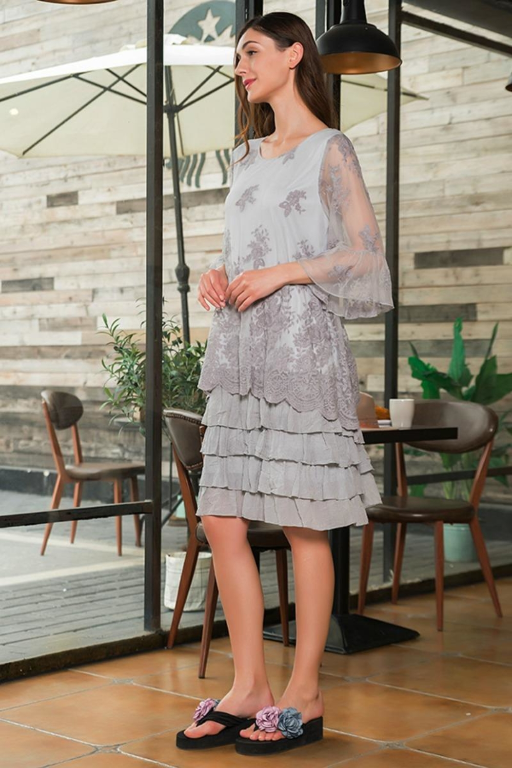 sassy Bling Tiered Lace Dress - Main Image