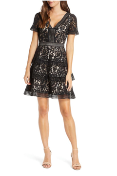 Eliza J Tiered Lace Fit & Flare Cocktail Dress - Product List Image