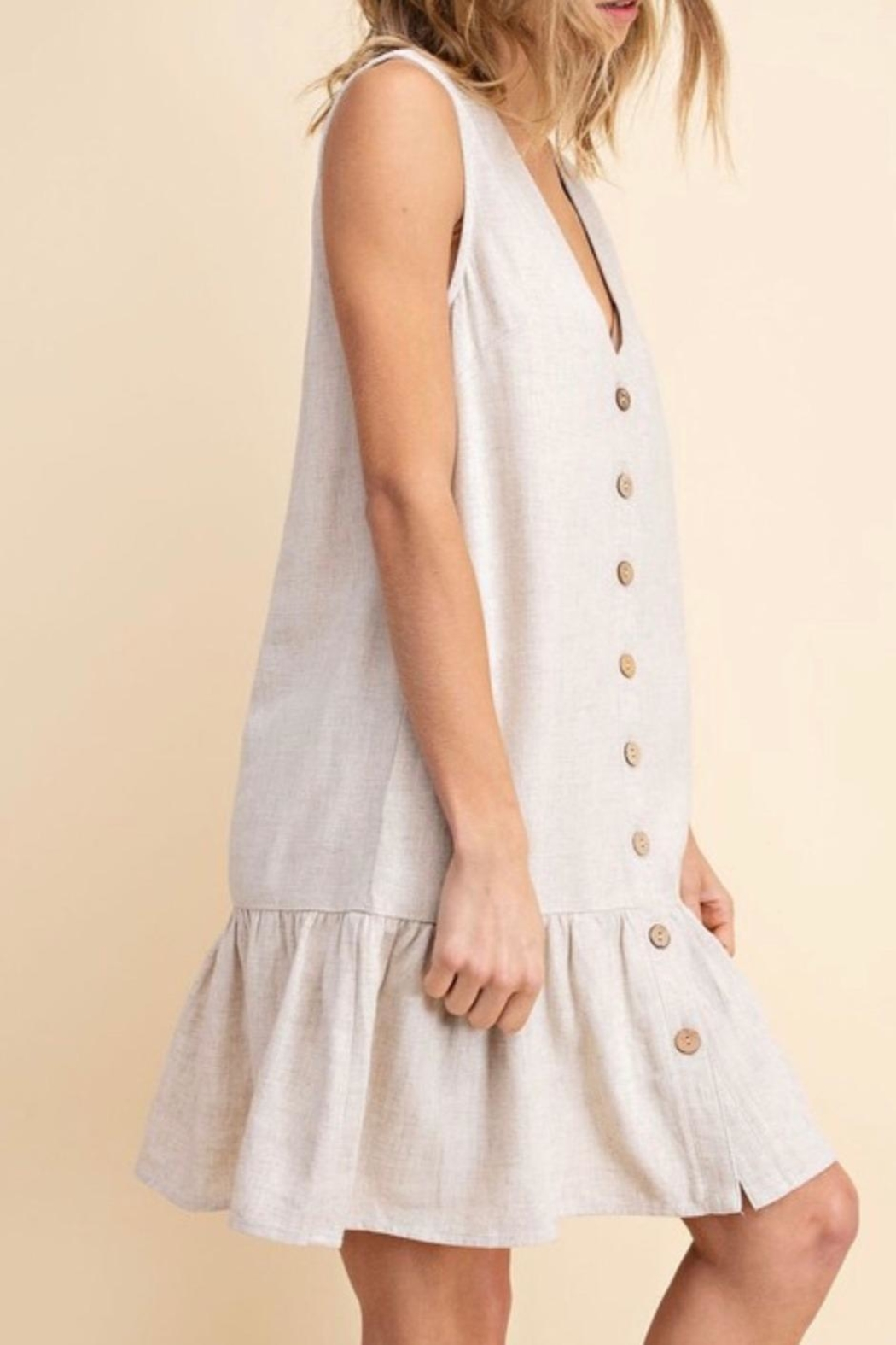 Mittoshop Tiered Linen Dress - Side Cropped Image