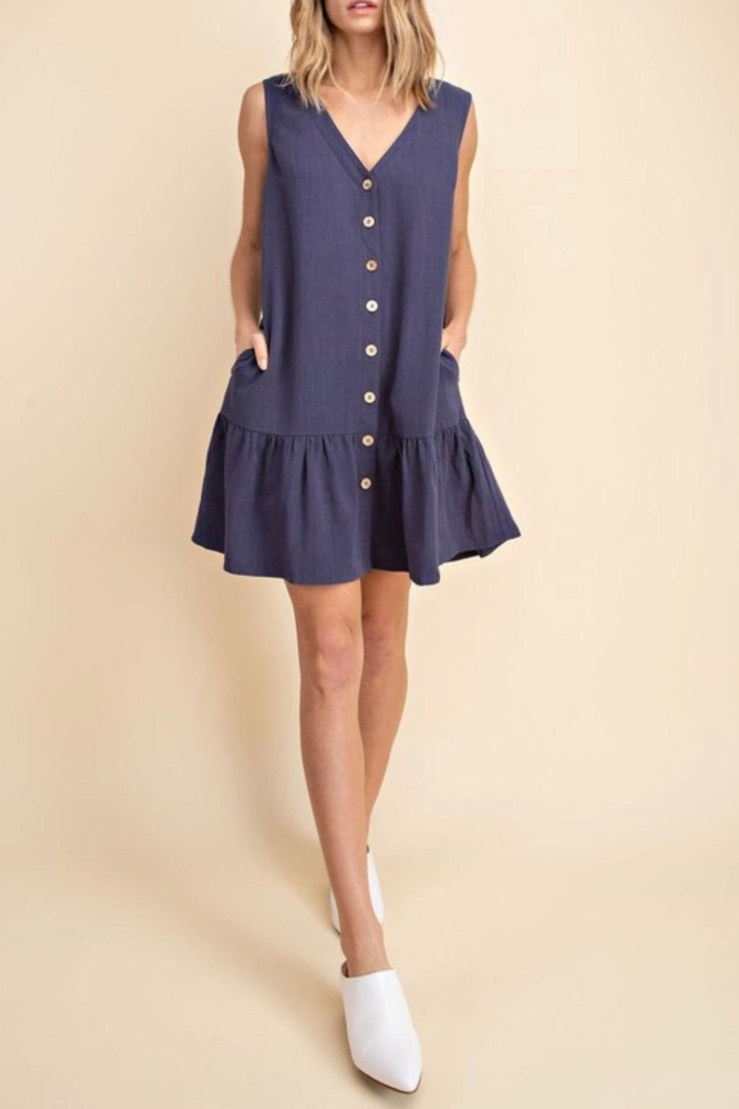 Mittoshop Tiered Linen Dress - Back Cropped Image