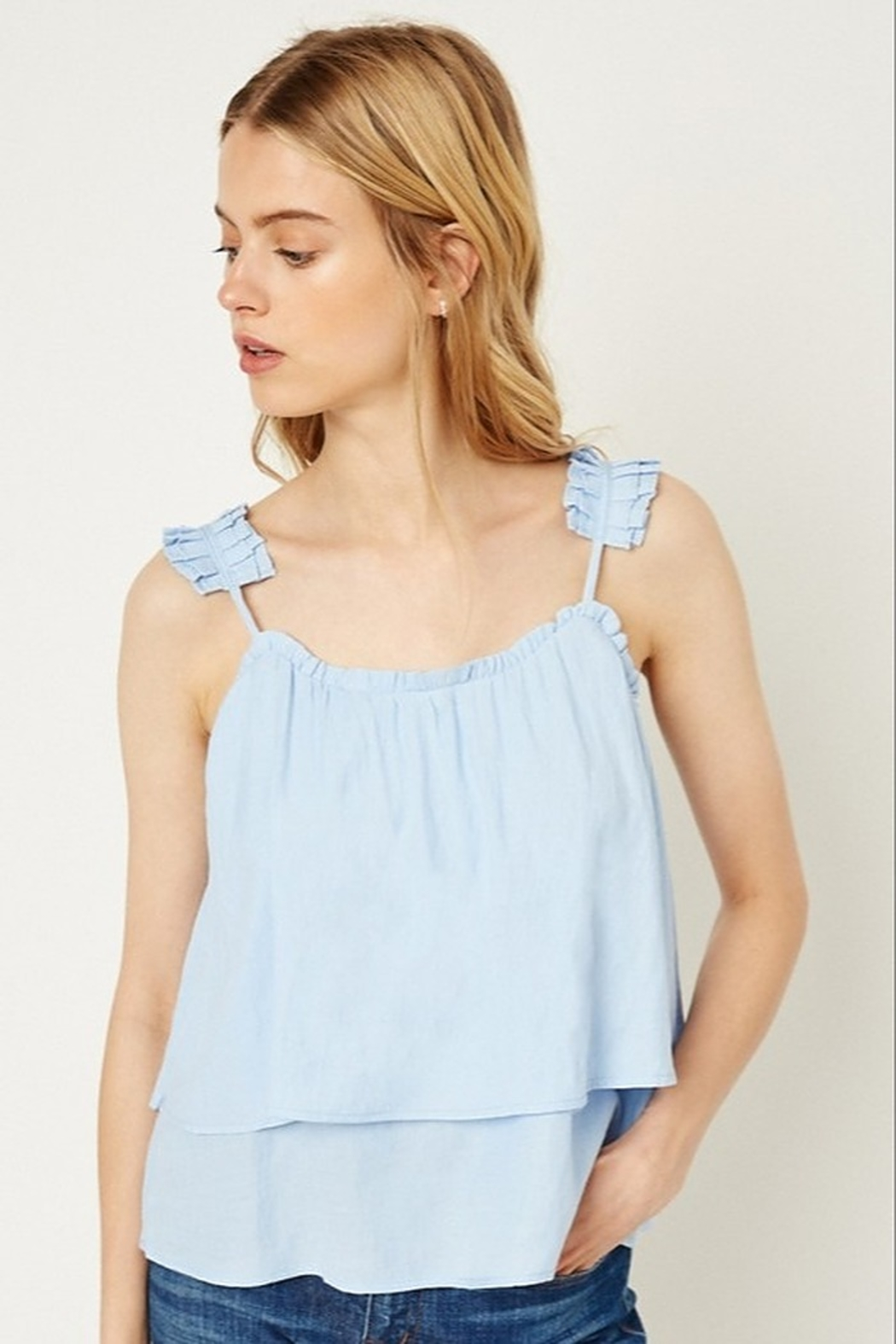 Hayden Tiered Pleated Strap Tank - Main Image