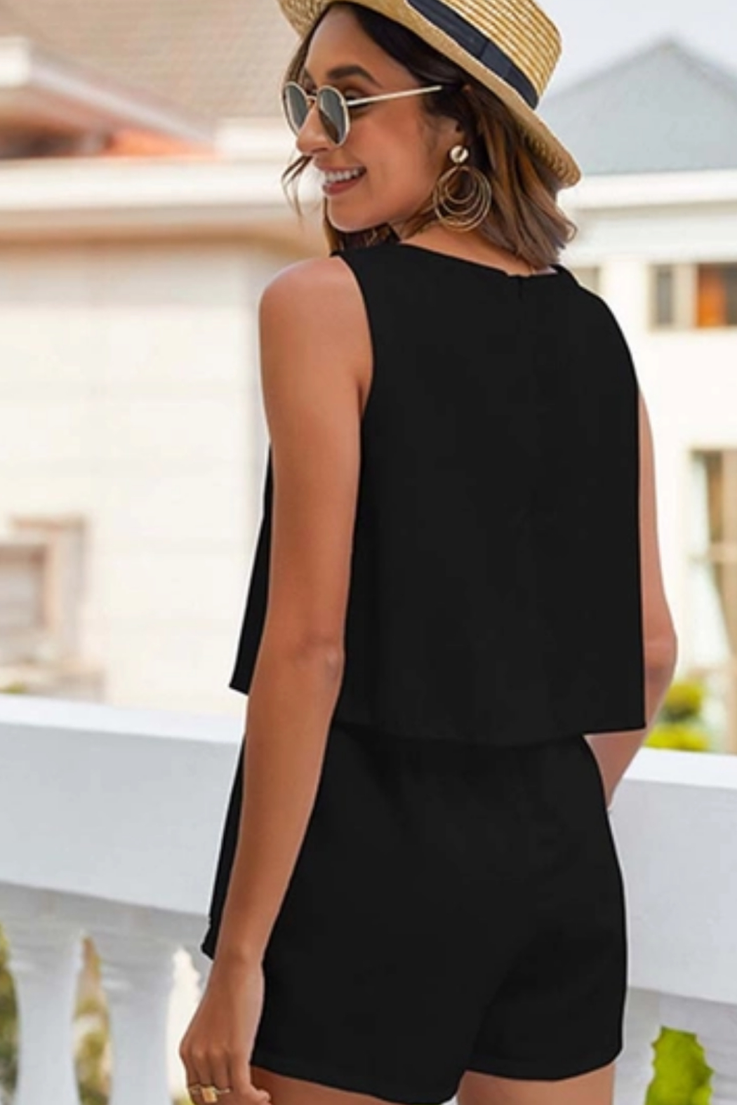 Esley  Tiered Romper - Front Full Image