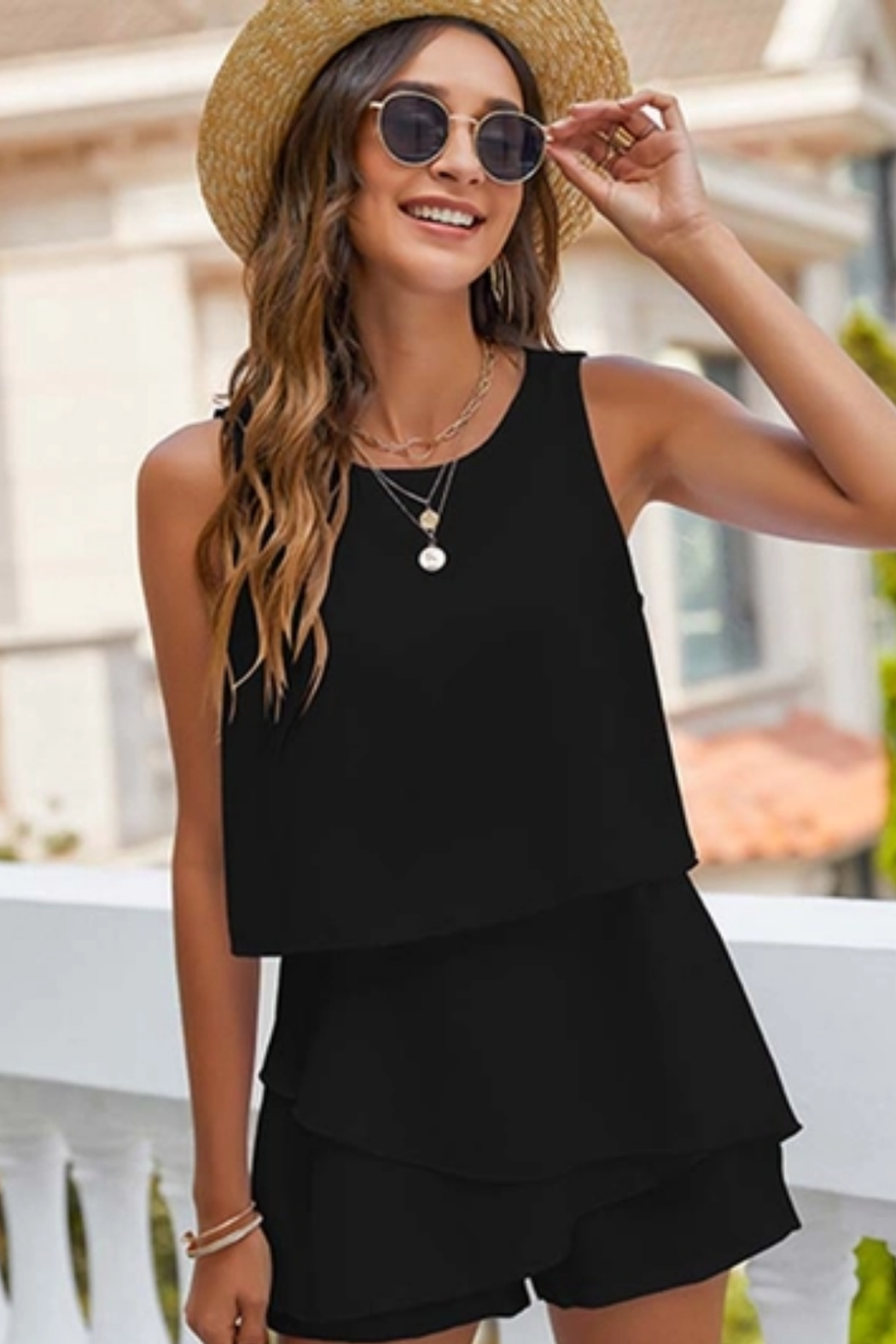 Esley  Tiered Romper - Front Cropped Image