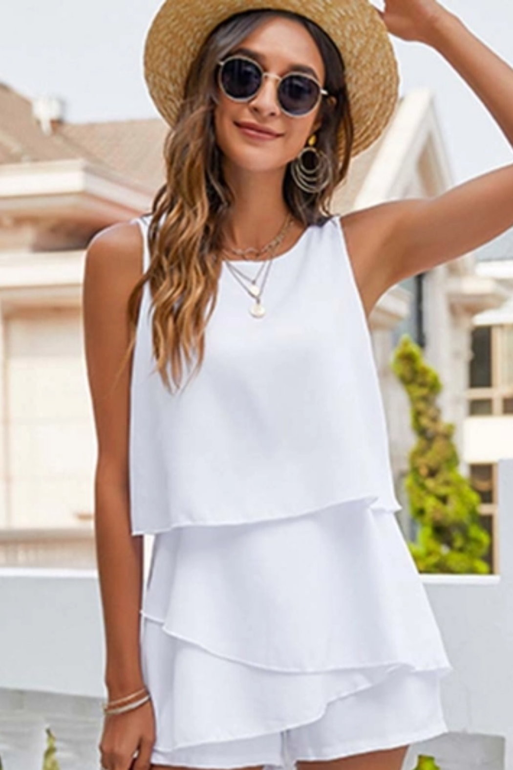 Esley  Tiered Romper - Side Cropped Image