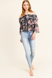 MONTREZ TIERED RUFFLE BELL SLEEVE TOP - Product Mini Image