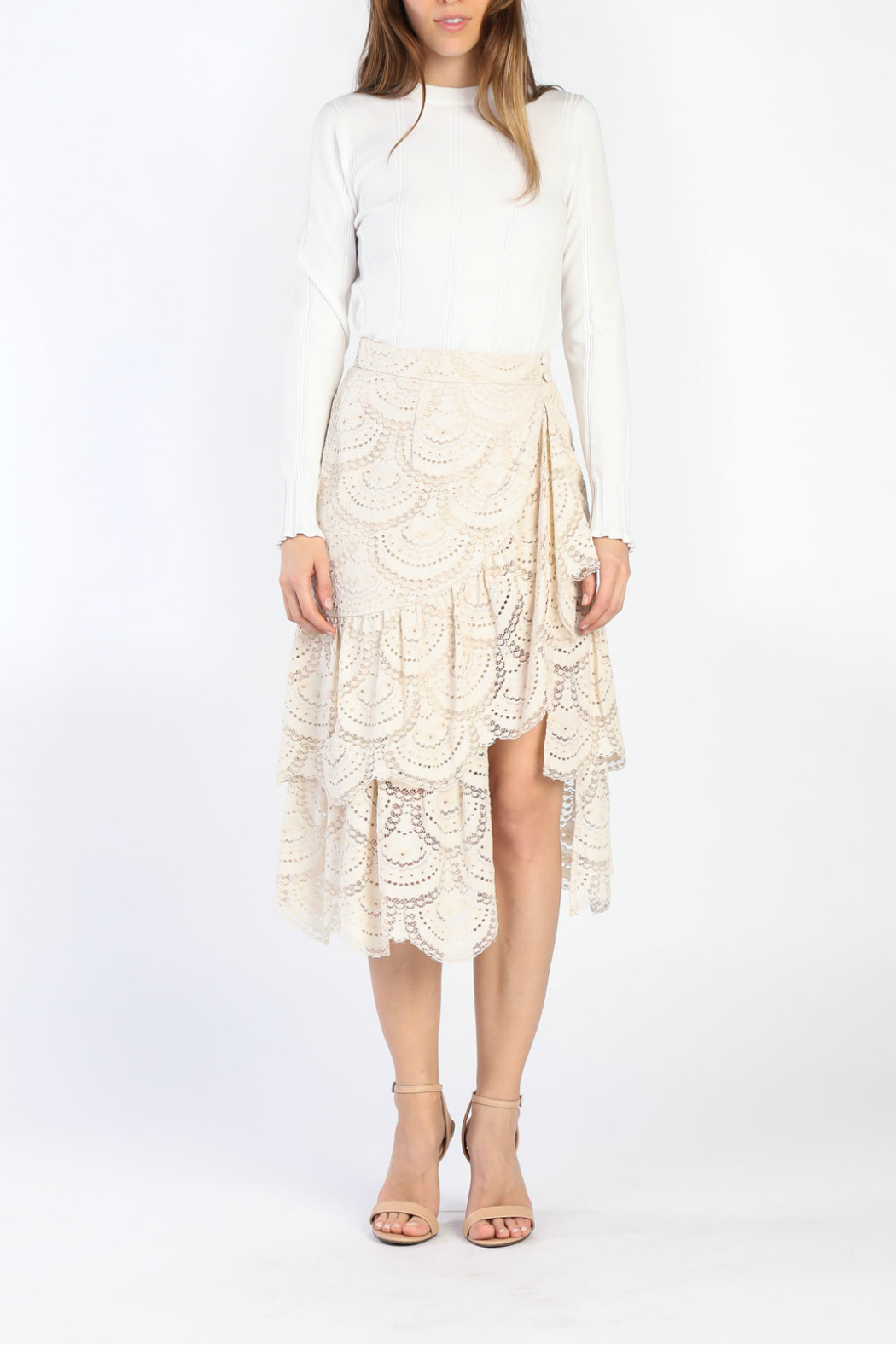 Current Air Tiered Ruffle Lace Skirt - Side Cropped Image