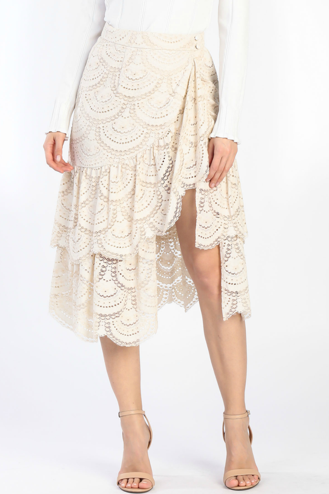 Current Air Tiered Ruffle Lace Skirt - Main Image