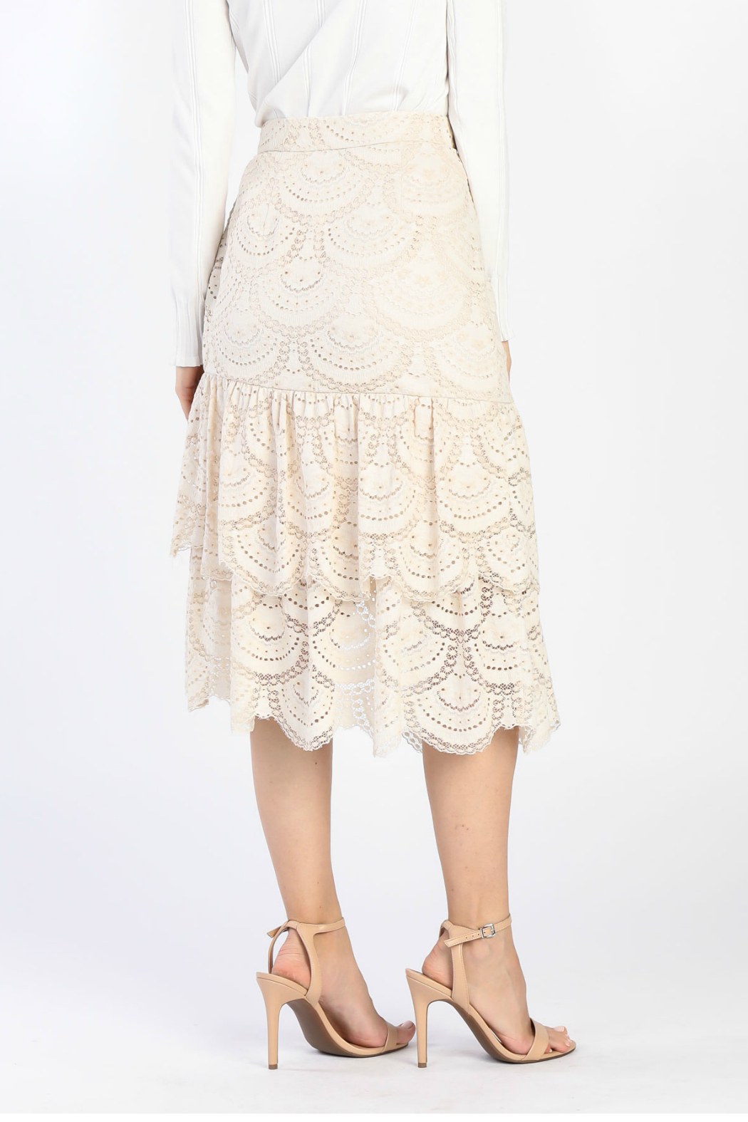 Current Air Tiered Ruffle Lace Skirt - Front Full Image