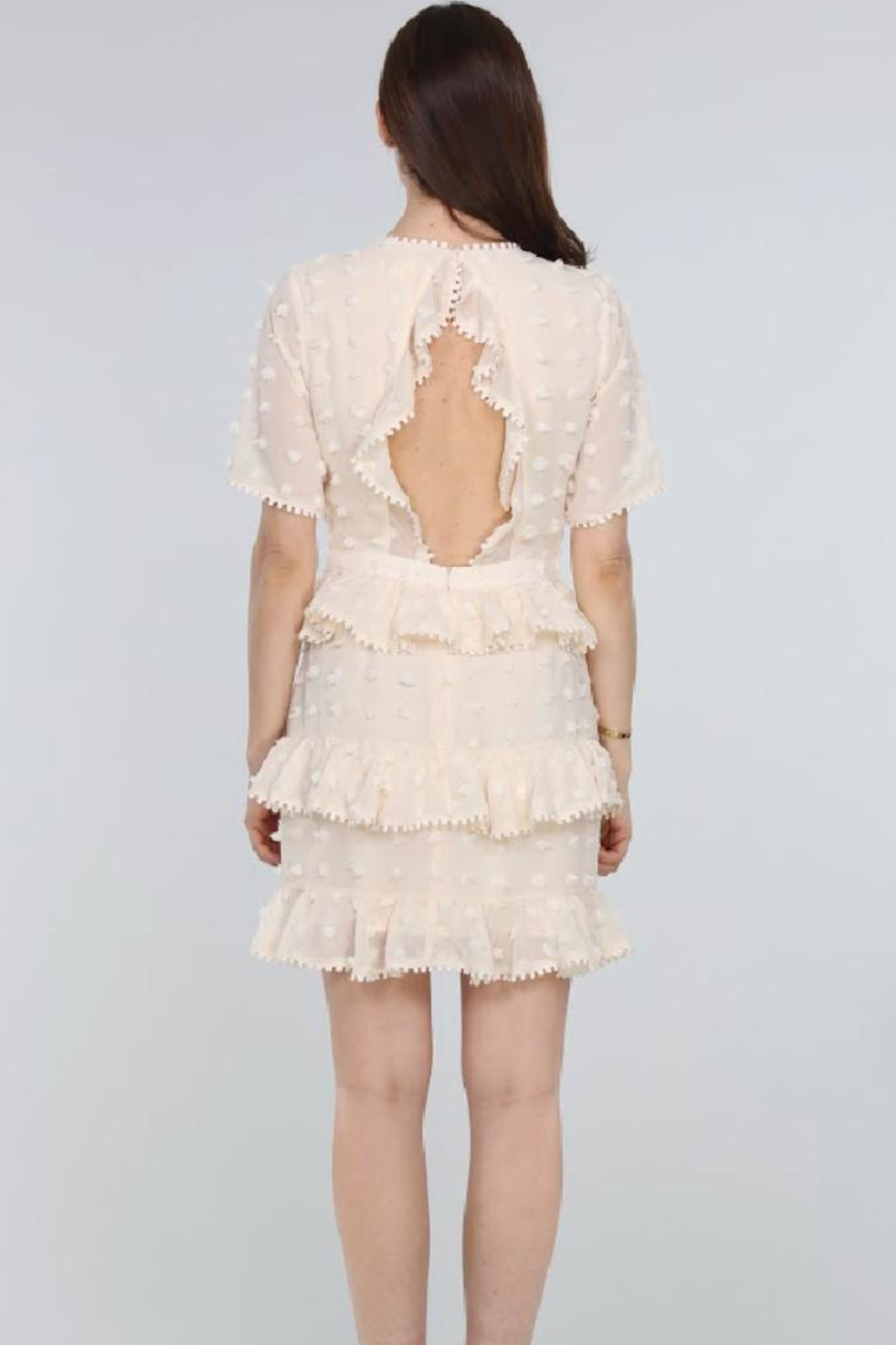 Just Me Tiered Ruffle Mini-Dress - Back Cropped Image