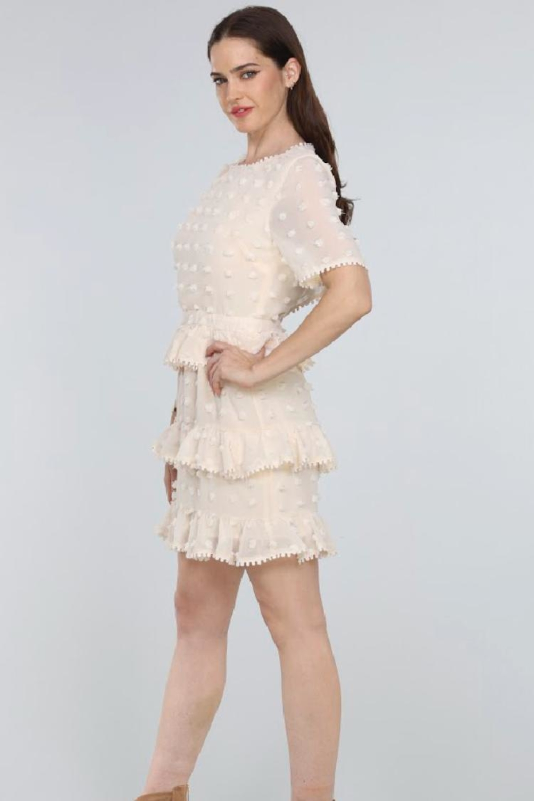 Just Me Tiered Ruffle Mini-Dress - Side Cropped Image