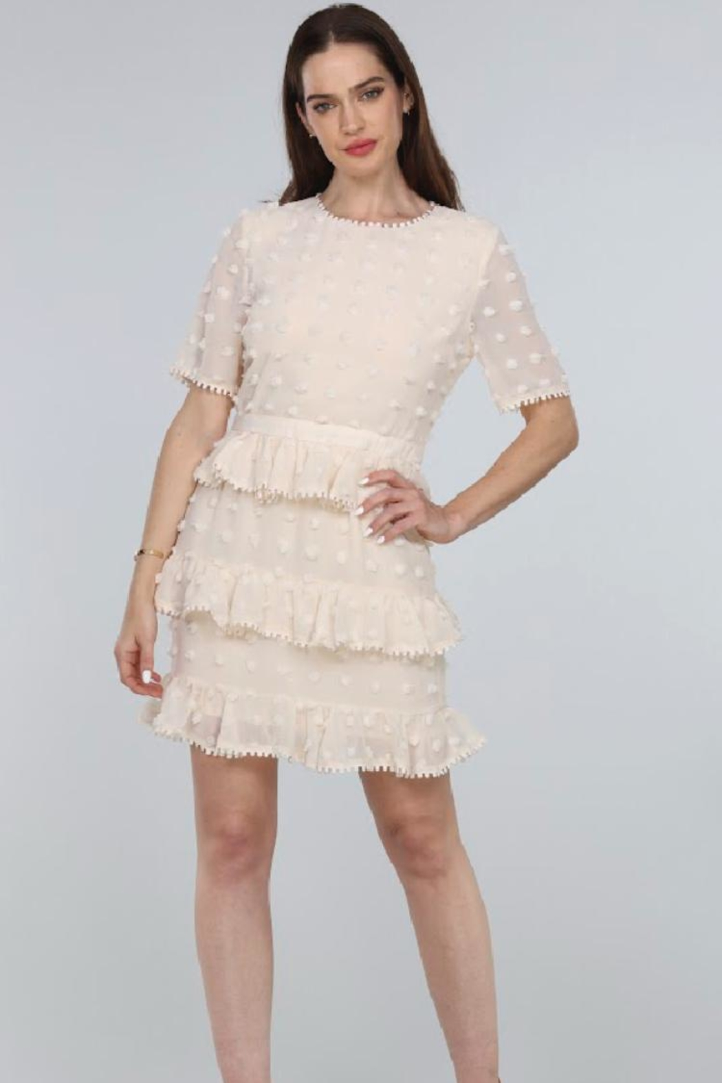Just Me Tiered Ruffle Mini-Dress - Front Full Image